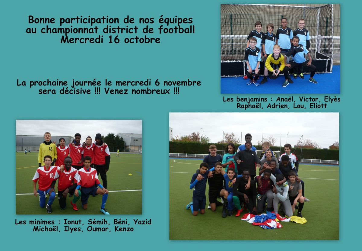 RESULTATS DE LA RENCONTRE DE FOOTBALL DISTRICT DU MERCREDI 16 OCTOBRE