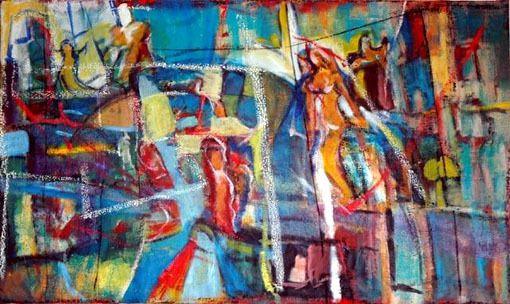 Les Trapézistes   160 x 95cm   Huile sur toile