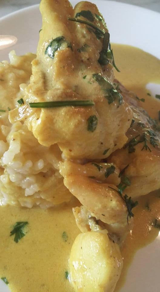 curry de lotte coco accompagnée d'un risotto coco