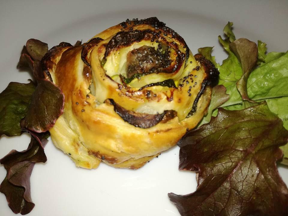roses en pate feuilletée courgettes anchois