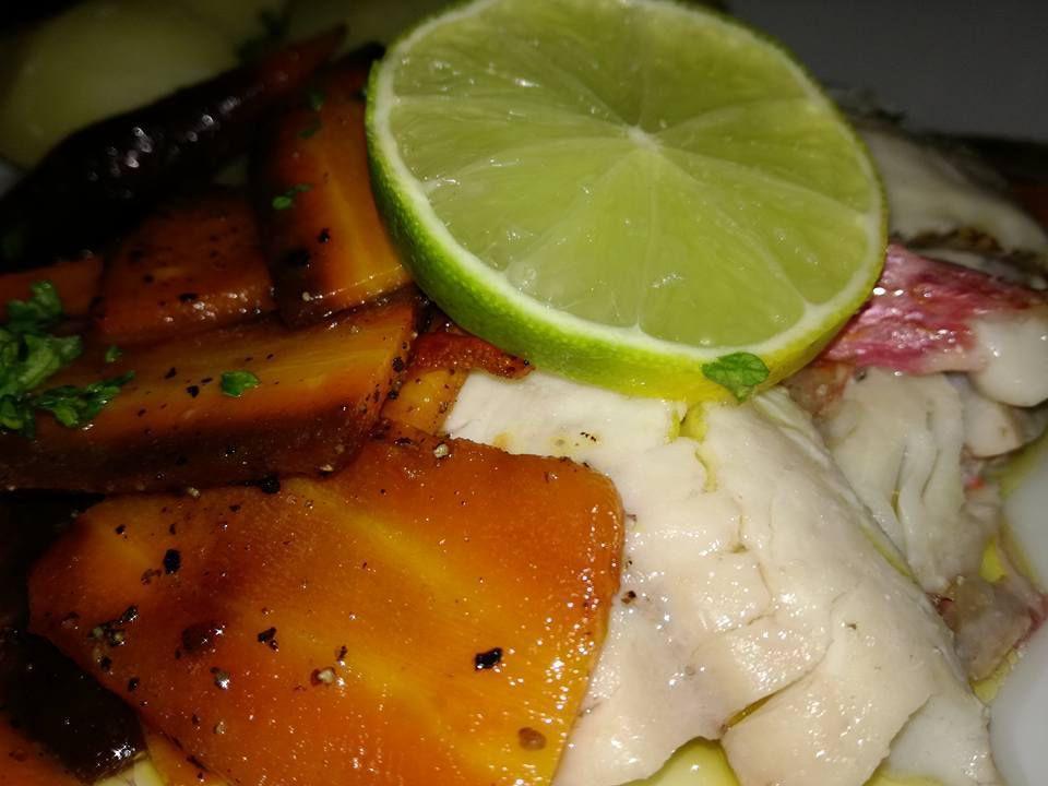 filet de rouget vapeur carottes multicolores huile de corse