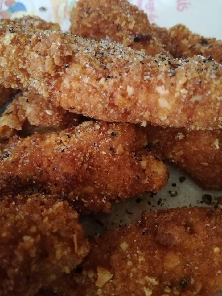 batonnets de poulet au curly et corn flakes