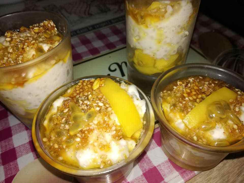perles du japon au lait de coco, mangue,passion , nougatines aux sésame