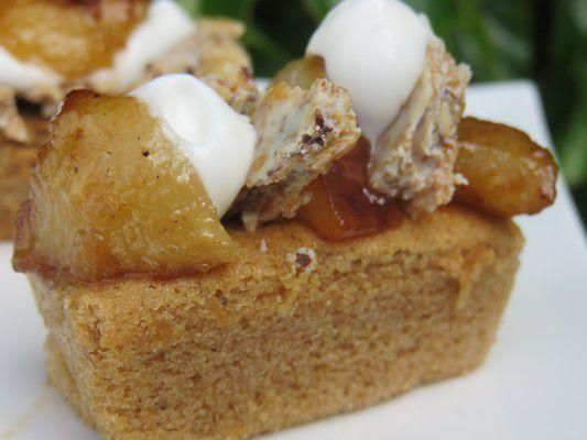 Moelleux aux marrons,poires rôties,chantilly et croustillant noisettes chocolat blanc