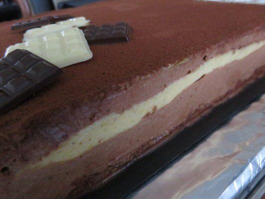 Entremet choco-croustillant pralin et crémeux vanillé