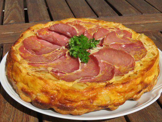 Tatin de pommes de terre-bacon et chèvre