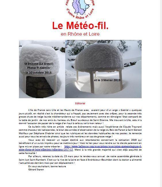 Le Météofil  N°152 de Février 2019 vient de paraitre