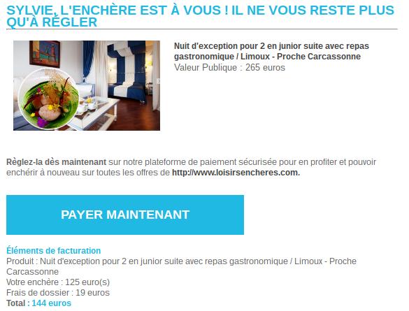 J'ai testé : le site Loisirs Enchères