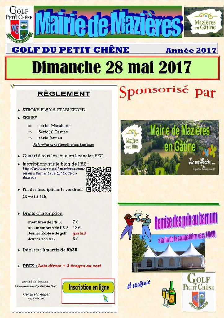 """Rappel ...Compétition """"Mairie de Mazières"""" le dimanche 28 mai...."""