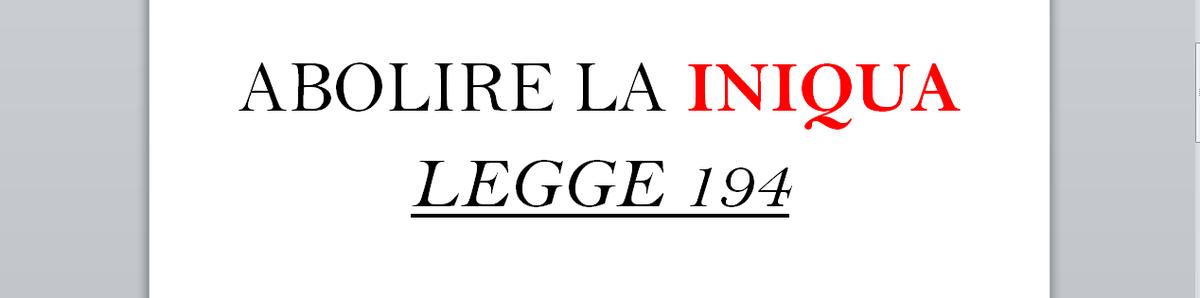 ABROGARE LA LEGGE 194 - NO ABORTO - EVANGELIUM VITAE