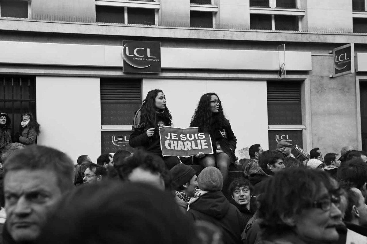 Marche suite à l'attentat contre Charlie Hebdo le 7 janvier 2015 et la prise d'otages de Saint Mandé le 9 janvier 2015. Boulevard Voltaire. Paris le 11 janvier 2015