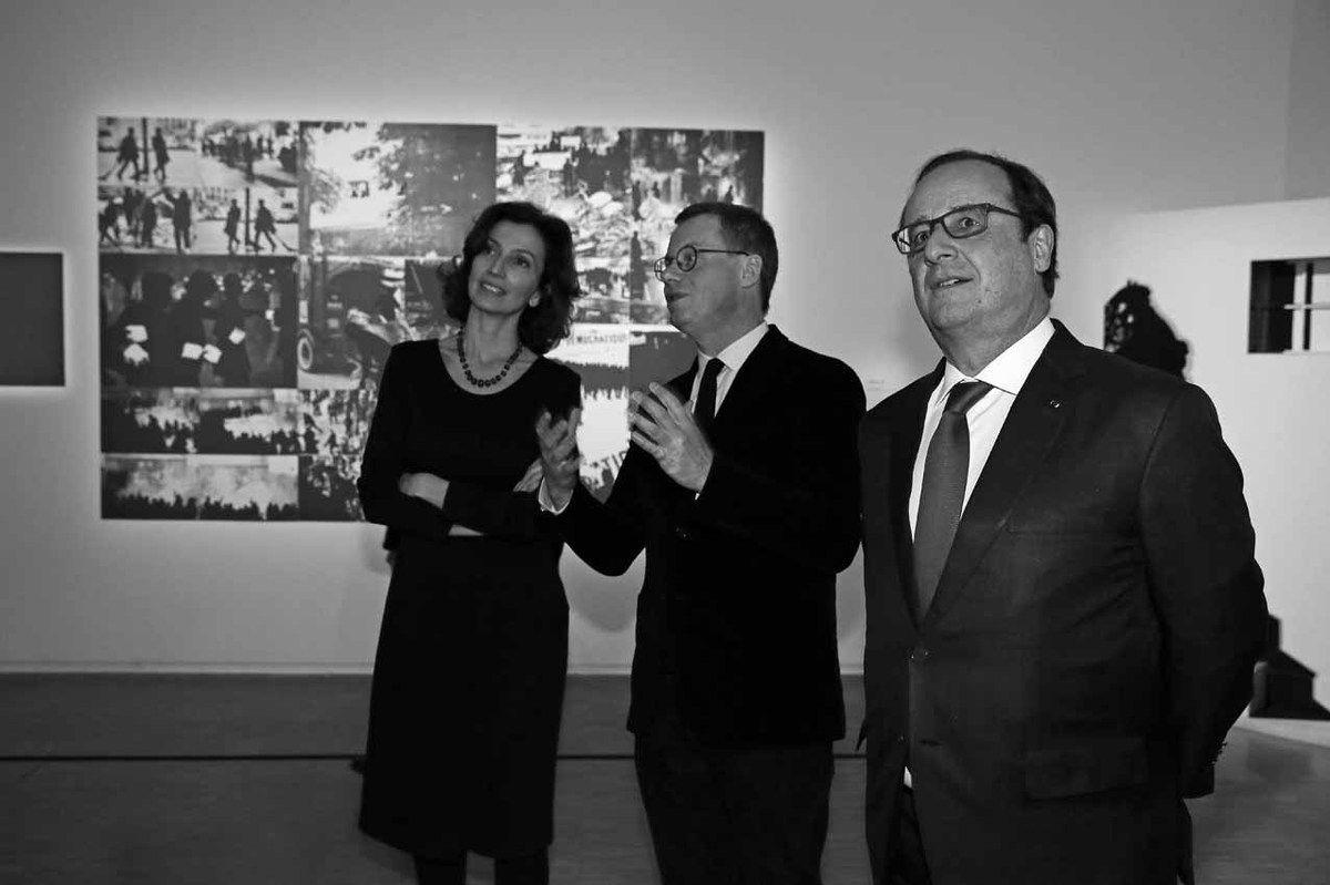 Audrey Azoulay, Michel Gauthier, François Hollande
