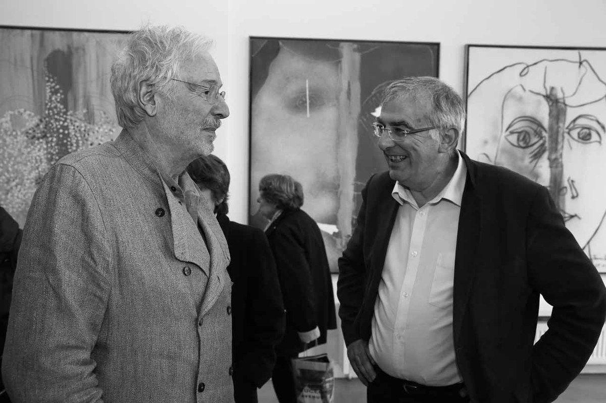 Jean-Pierre Jouffroy, Daniel Breuiller. Vernissage de l'exposition Jean-Pierre Jouffroy. Galerie Municipale Julio Gonzalez. Arcueil le 25 avril 2014