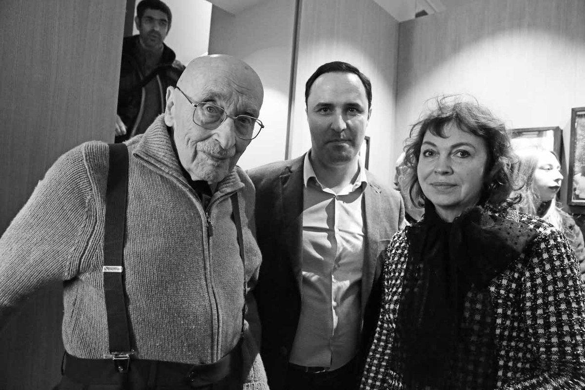 Oscar Rabine, Nicolas Hacquebart Desvignes, Tatiana Lysak-Polischuk. Vernissage de l'exposition Oscar Rabine. Librairie galerie Artbiblio. Paris le 15 mars 2018