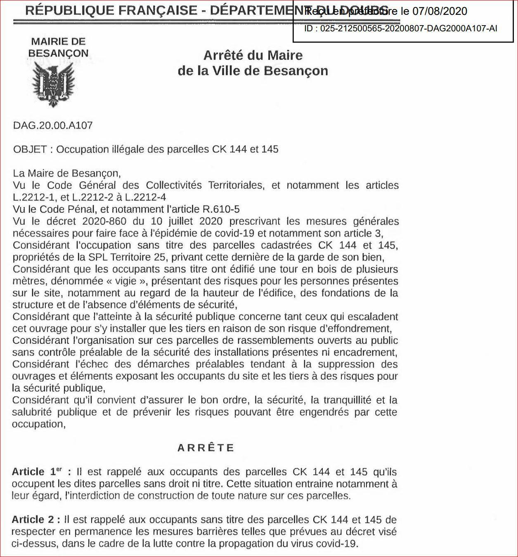 arrêté municipal 7 août 2020 Besançon