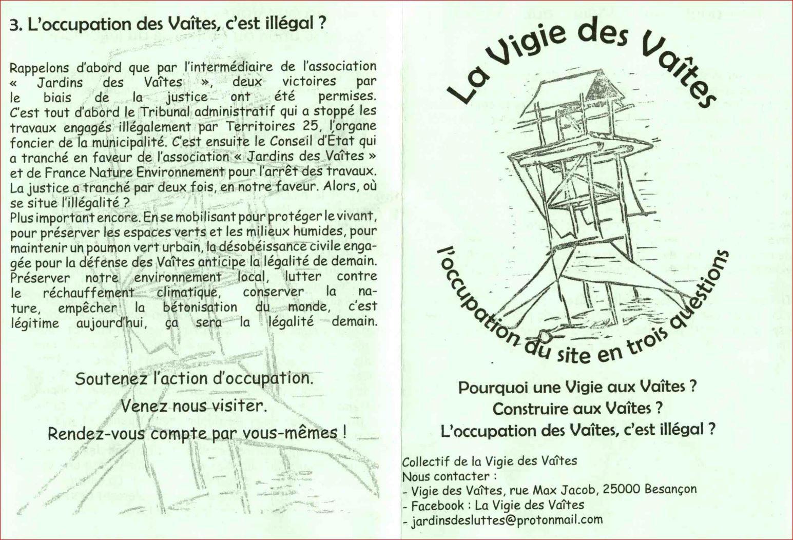 tract de la vigie des vaîtes : l'occupation des vaîtes c'est illégal ?