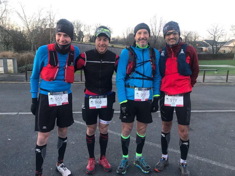 Guillaume, Lilian, Gilles et Karl au départ du 25kms