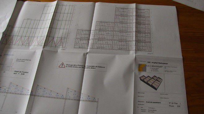 Plan des charpentes du plateau technique réalisé par l'entreprise Boussiquet