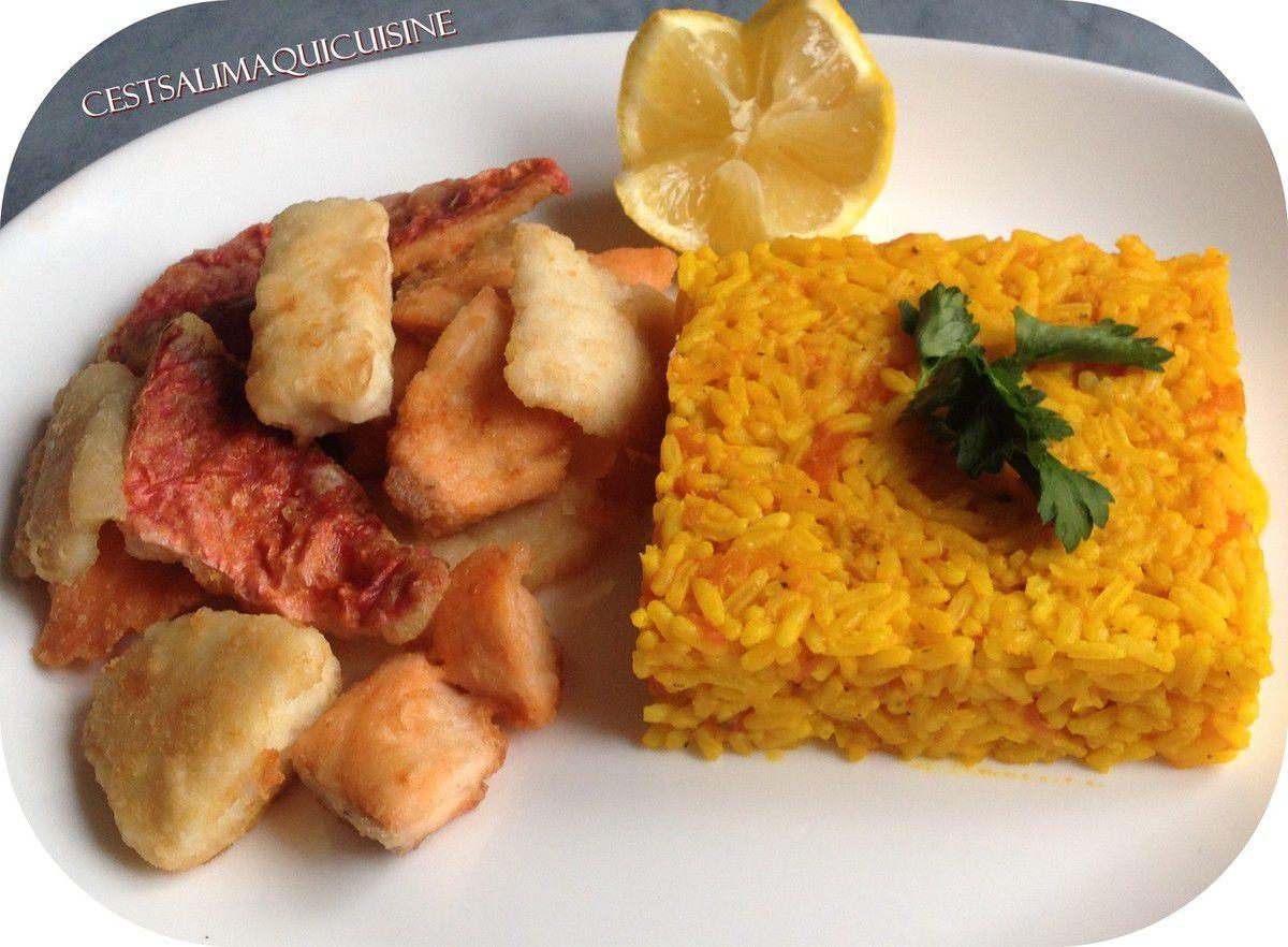 Méli-mélo de poissons et riz safrané