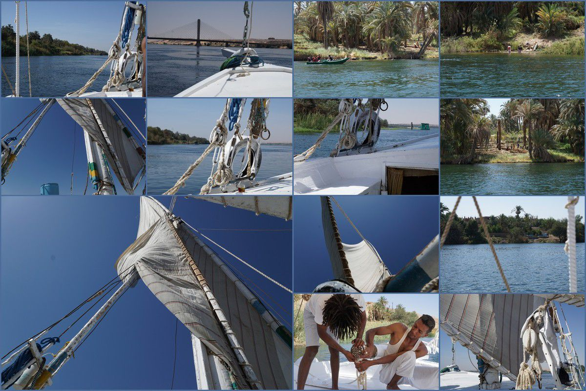 Between Kom Ombo and Aswan in Felucca in May Egypt