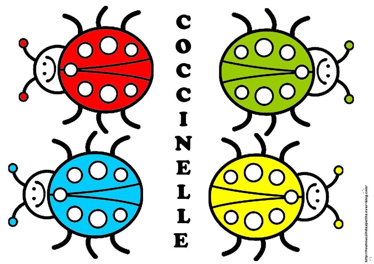 .. Les Coccinelles en Gommettes et jeu de tri des couleurs ..