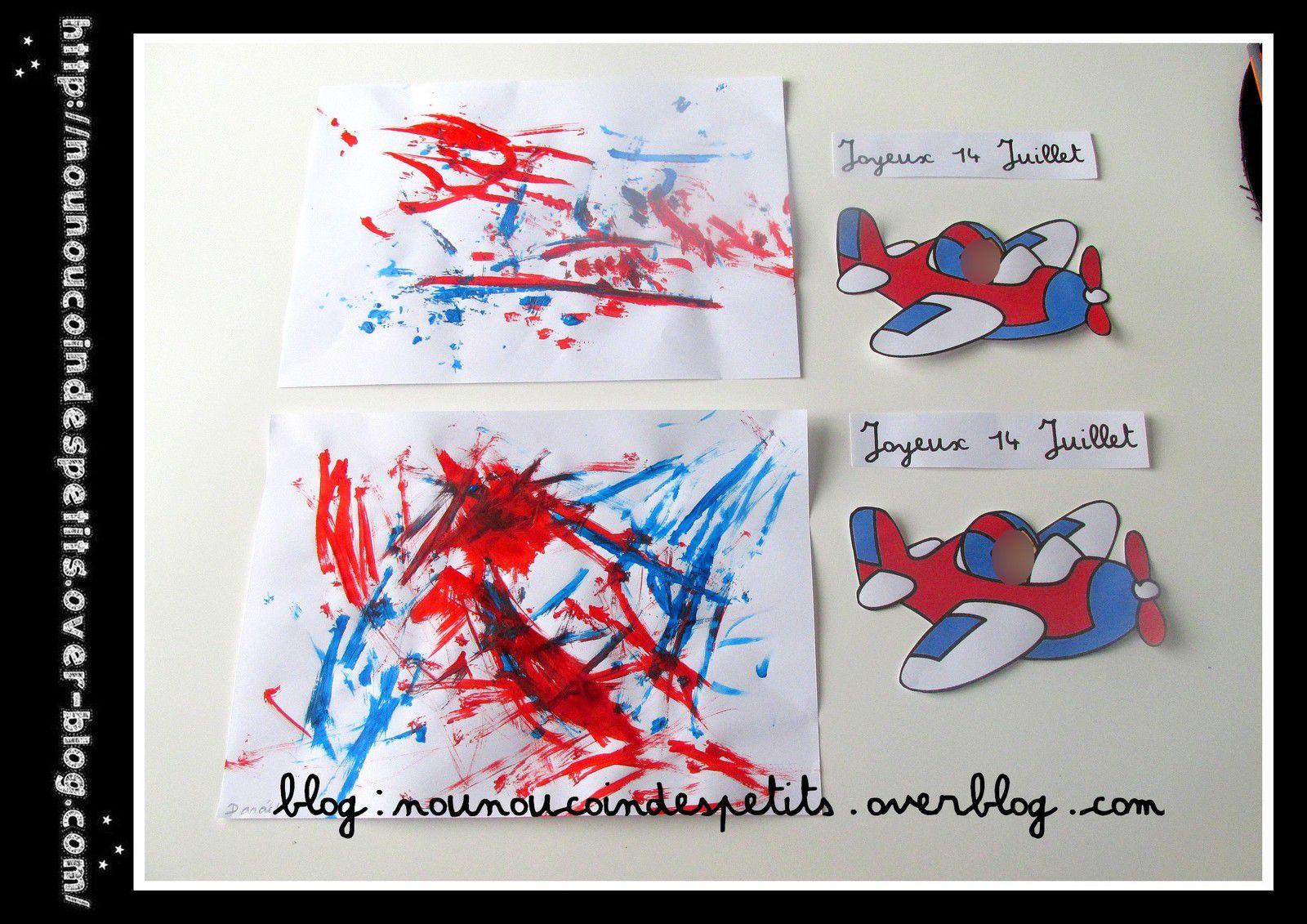 .. Joyeux 14 Juillet peinture au fil chenille ..