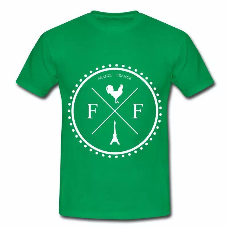 T shirt France Badge Coq et Tour Eiffel HVR