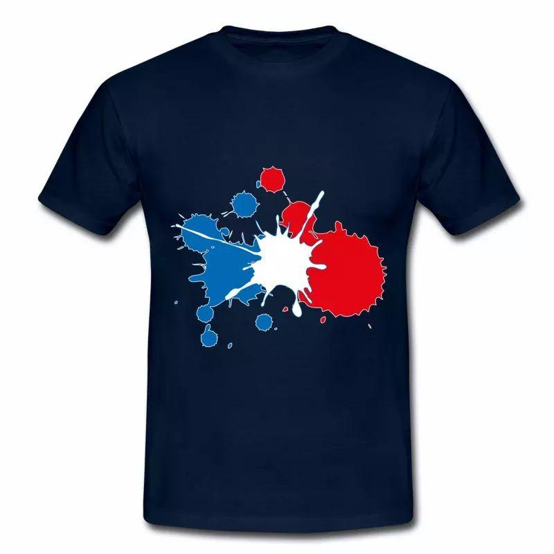 T shirt bleu blanc rouge Peinture tricolore HBM