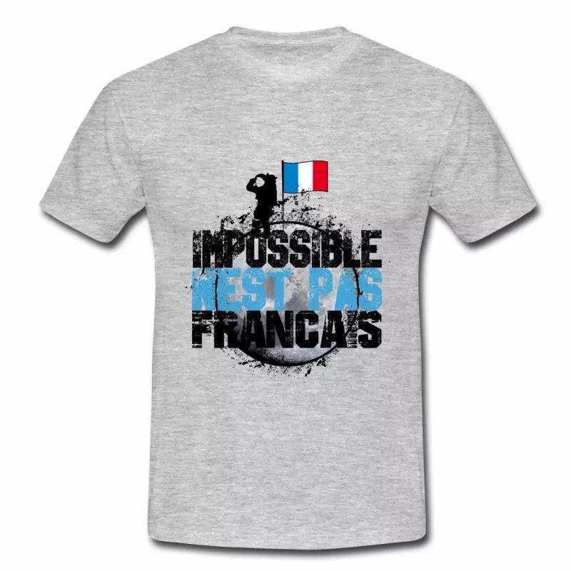 T shirt bleu blanc rouge Impossible n'est pas français N HGR