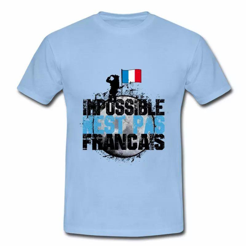 T shirt bleu blanc rouge Impossible n'est pas français N HBC