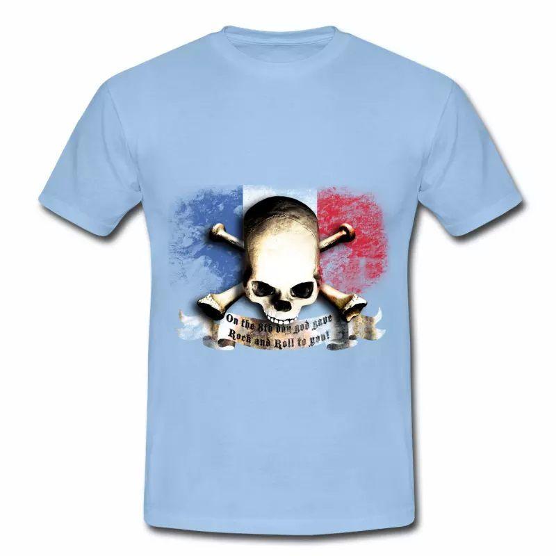 T shirt bleu blanc rouge Drapeau Français Rock HBC