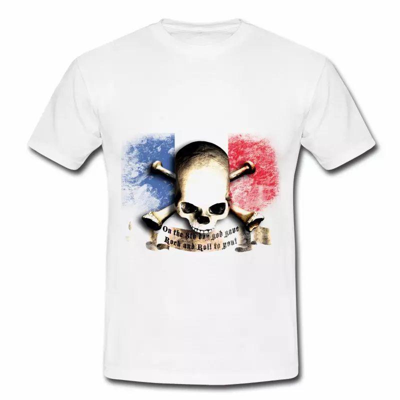 T shirt bleu blanc rouge Drapeau Français Rock HBL