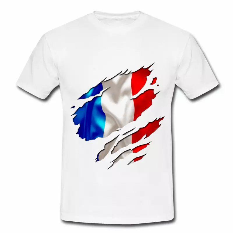 T shirt bleu blanc rouge homme blanc Fond Drapeau Français