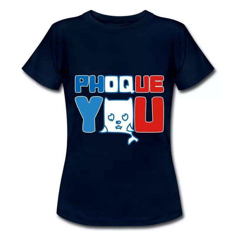 T shirt bleu m femme Phoque you
