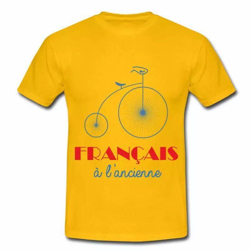T shirt jaune homme Humour Français à l'ancienne B