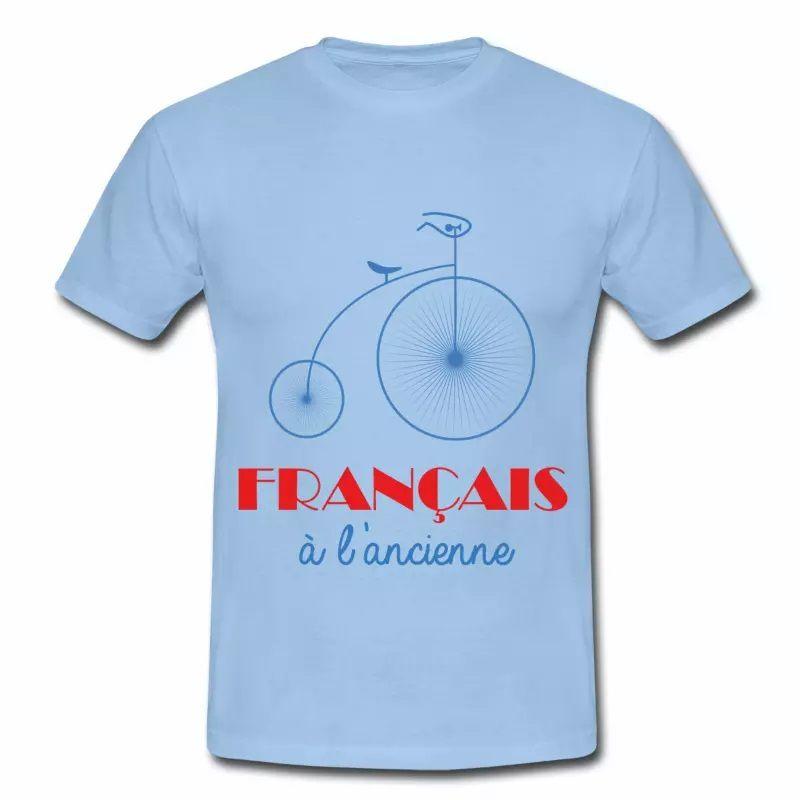 T shirt bleu c homme Humour Français à l'ancienne B