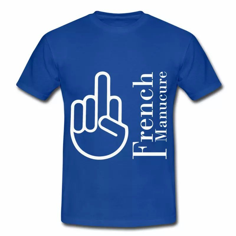 T shirt bleu r homme Humour the French Manucure