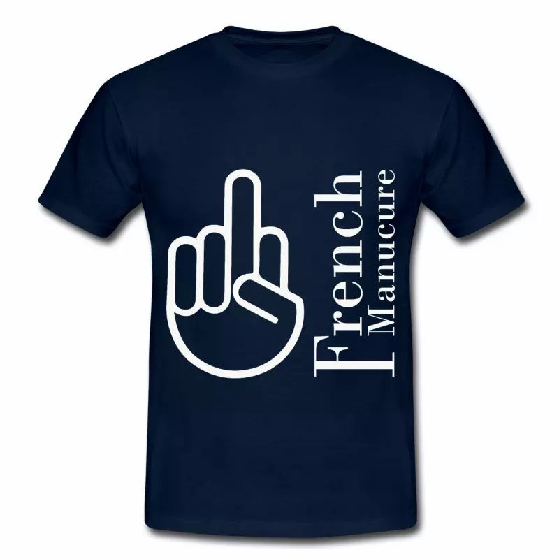 T shirt bleu m homme Humour the French Manucure