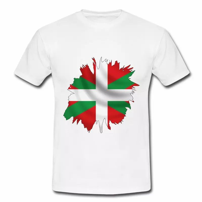 T shirt Pays Basque blanc homme Drapeau Basque 64