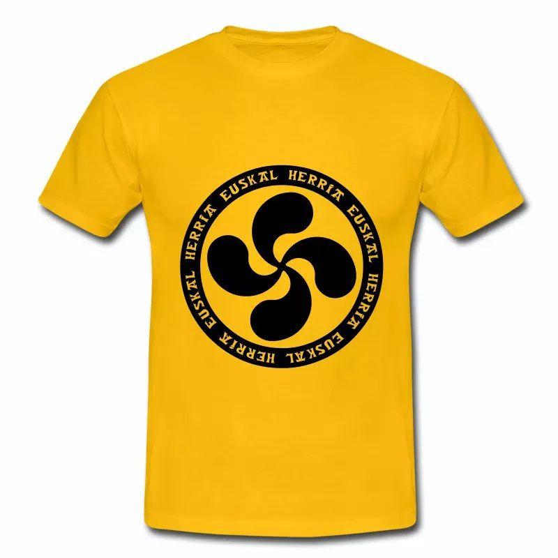 T shirt Pays Basque jaune homme 64 Badge Croix Basques