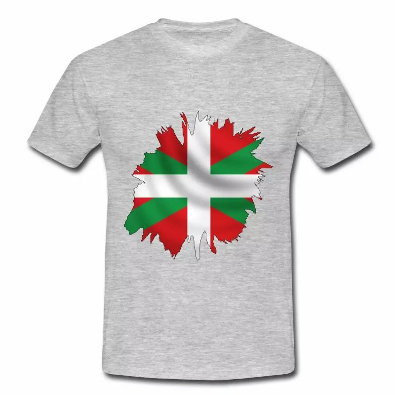 T shirt Pays Basque gris homme Drapeau Basque 64