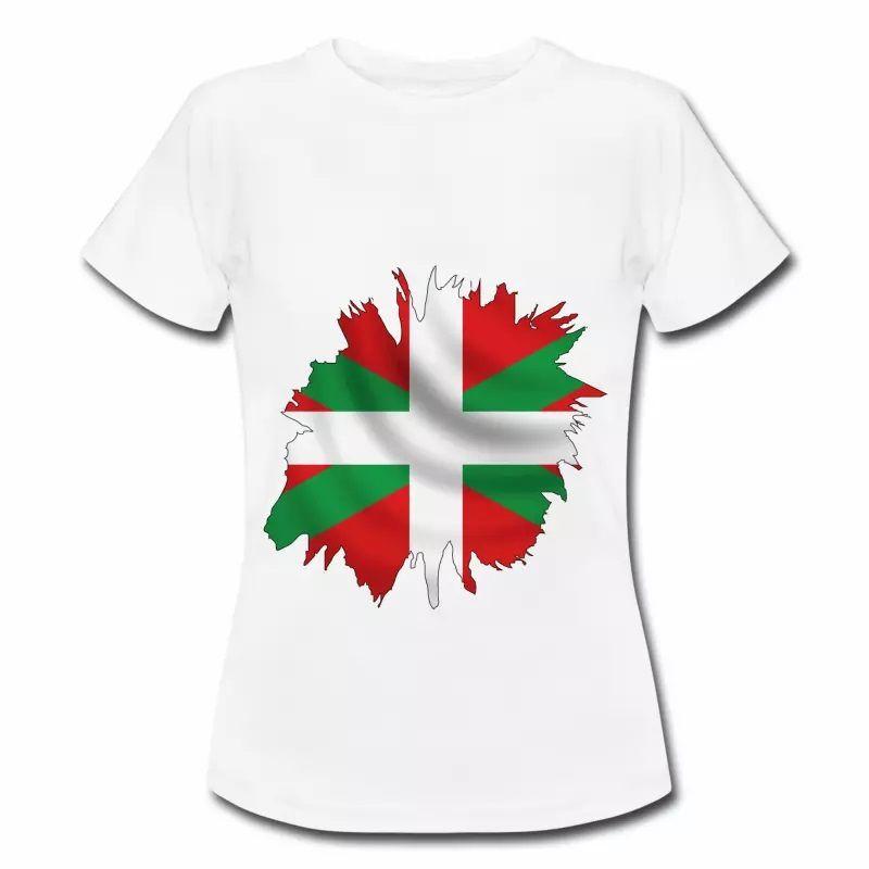 T shirt Pays Basque blanc femme Drapeau Basque 64