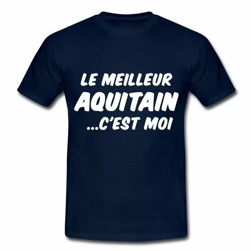 T Shirt Aquitaine bleu m homme Humour meilleur Aquitain