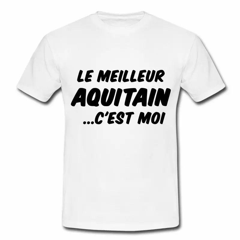 T Shirt Aquitaine blanc homme Humour meilleur Aquitain