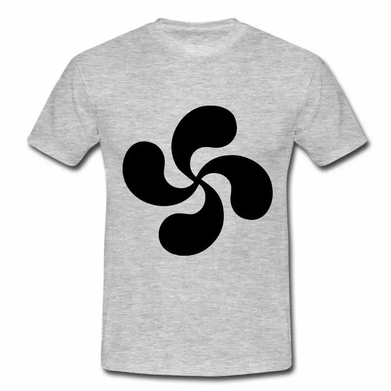 T shirt Pays Basque gris homme Croix Basque noir