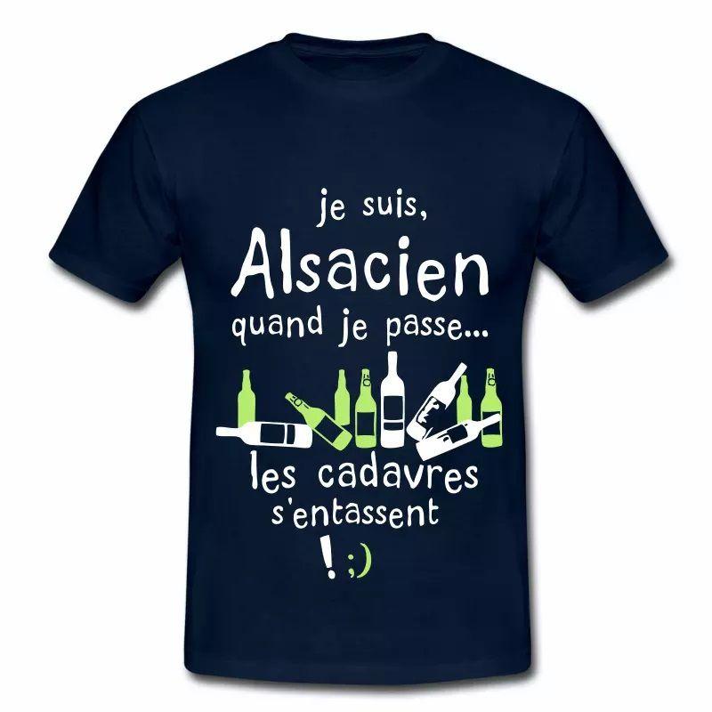 T Shirt Alsace bleu m homme Quand l'Alsacien passe