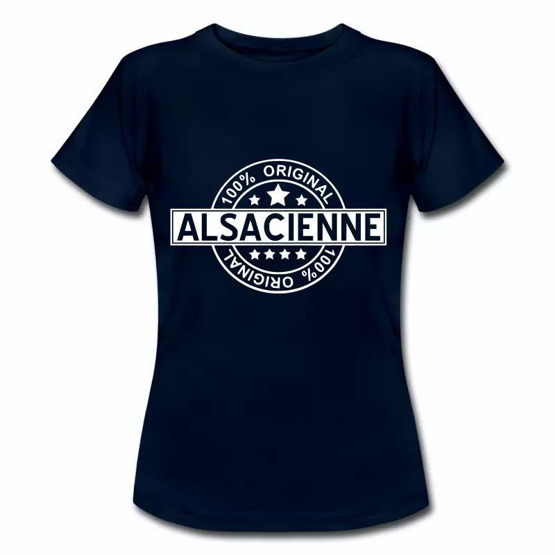 T Shirt Alsace bleu m pour femmes 100% Original Alsacienne