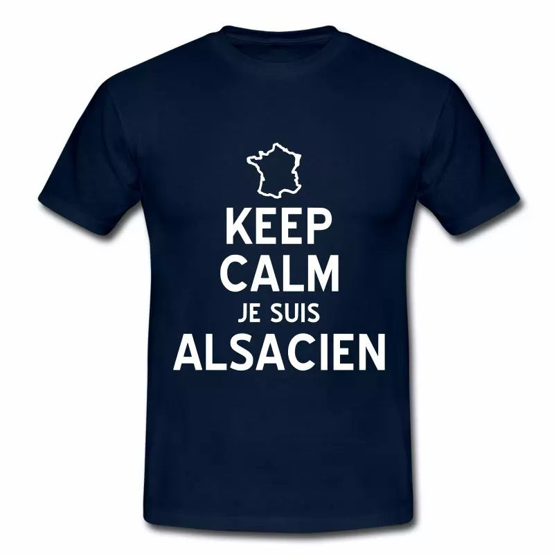 T Shirt Alsace bleu m homme Keep calm je suis Alsacien