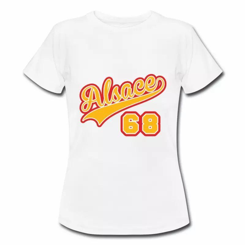 T Shirt Alsace 68 blanc pour femmes