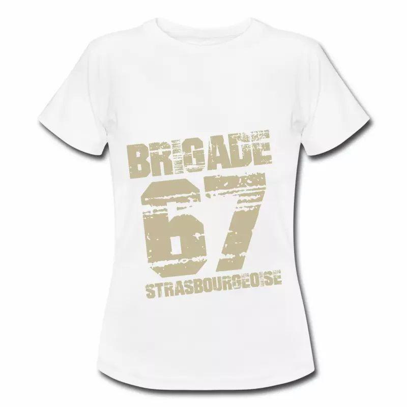 T Shirt Alsace blanc femme Strasbourg 67 brigade Strasbourgeoise